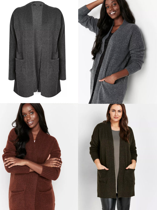 Ex Evans Long Pocket Front Cardigan In 3 Colours