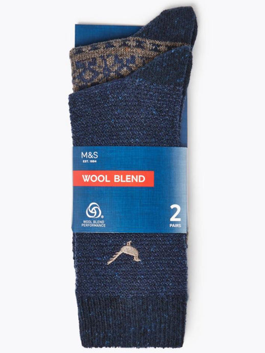 Ex Marks And Spencer 2 Pack Maximum Warmth Thermal Socks with Wool
