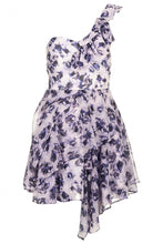 Ex Topshop Floral One Shoulder Lilac Prom Chiffon Dress