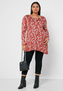 Ex Evans Floral Printed Asymmetric Top Blouse