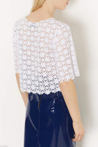 Ex Topshop White Floral Burnout Daisy Scallop Top