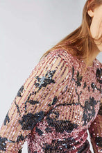 Ex Topshop Petite Pink Floral Sequin Mesh Mini Dress