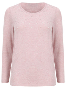 Ladies Long Sleeve Pearl Embellished Knitwear Jumper
