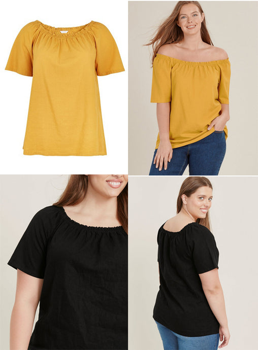 Ex Evans Yellow Or Black Linen Blend Bardot Top