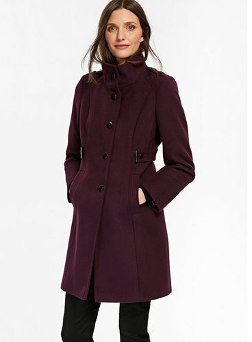 Ex Wallis Petite Berry Funnel Neck Fitted Coat