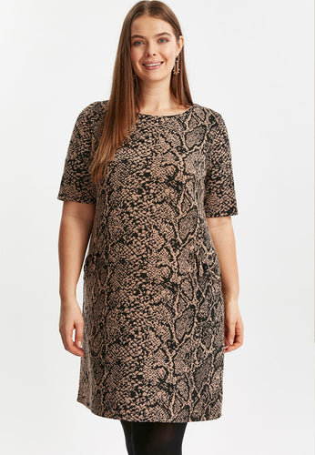 Ex Evans Brown Animal Print Shift Dress