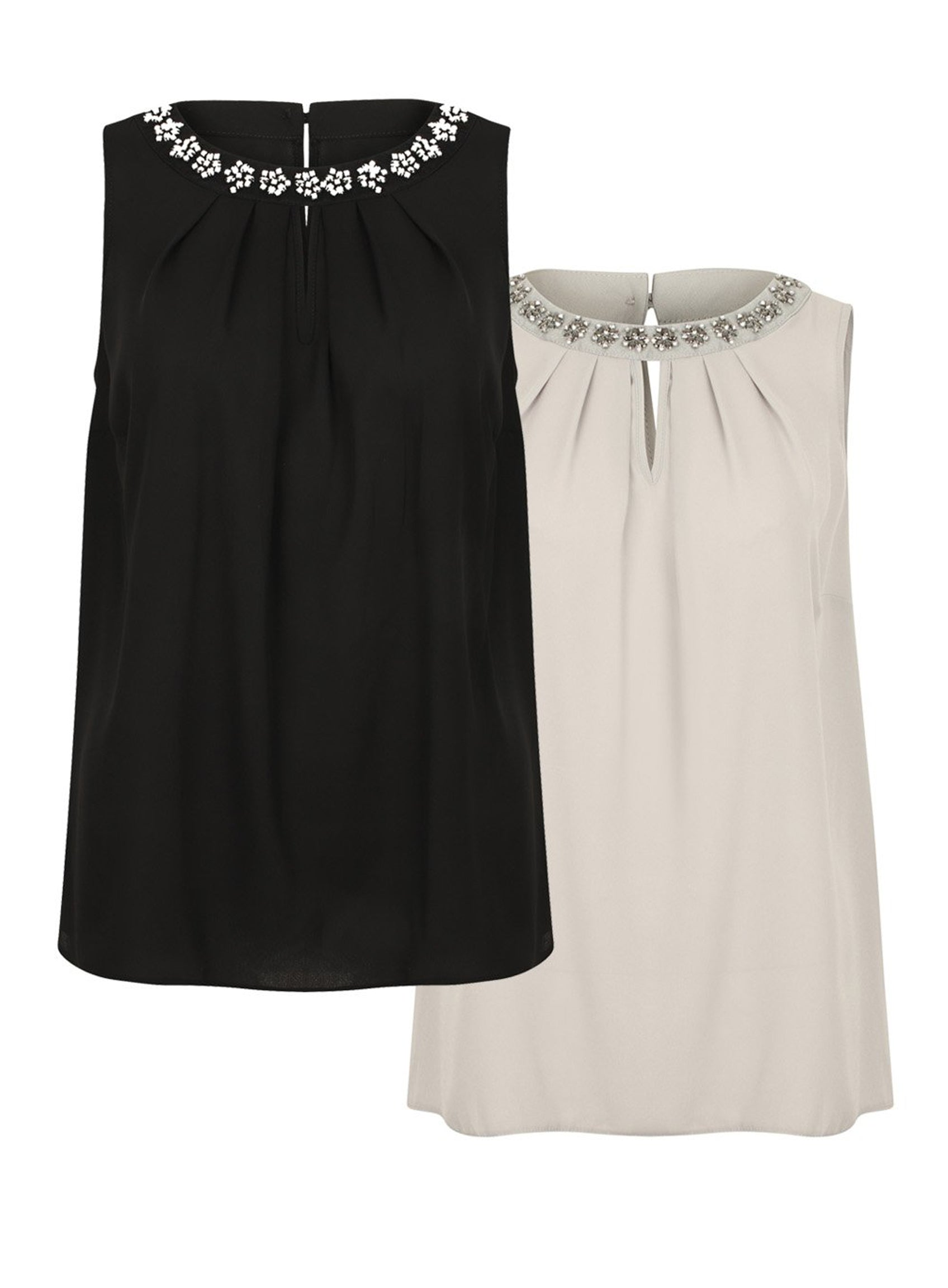 80d294b11fa Ex Evans Black Silver Sleeveless Embellished Diamante Chiffon Blouse T –  Yourstyleoutlet