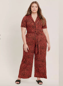 Ex Evans Rust Animal Print Jersey Short Sleeve Jumpsuit