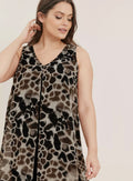 Ex Evans Brown Animal Leopard Print Split Front Sleeveless Dress