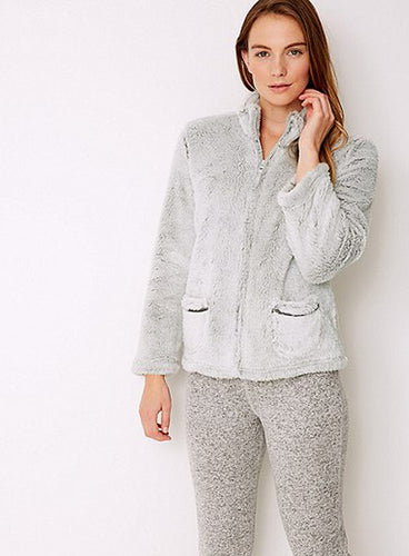 Ex Marks And Spencer Grey Fleece Textured Long Pile Bed Jacket