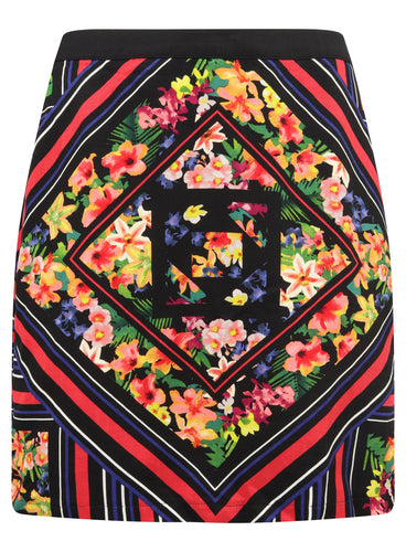 Ladies Floral Aztec Multicoloured Short Skirt