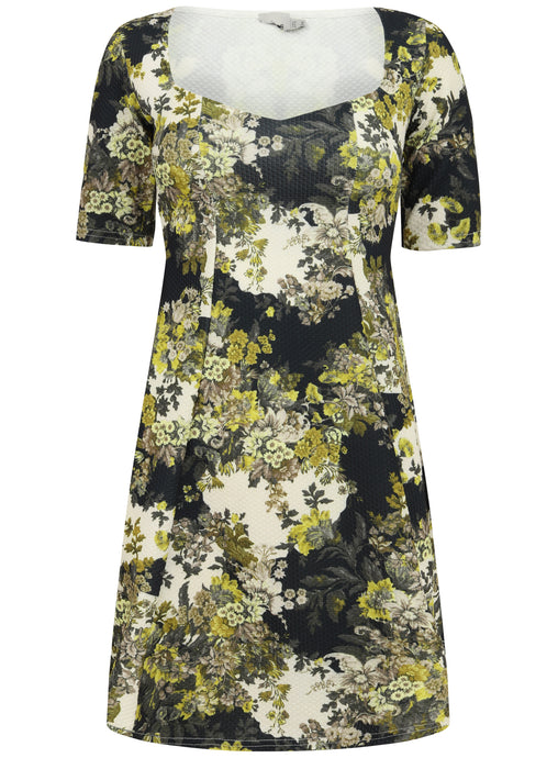 Ex Asos Short Sleeve Green Floral Square Neck Dress