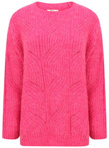 Plus Size Long Sleeve Pink Crewneck Jumper Knitwear