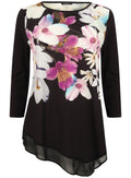 Ex Roman Originals 3/4 Sleeve Black Floral Chiffon Hem Top