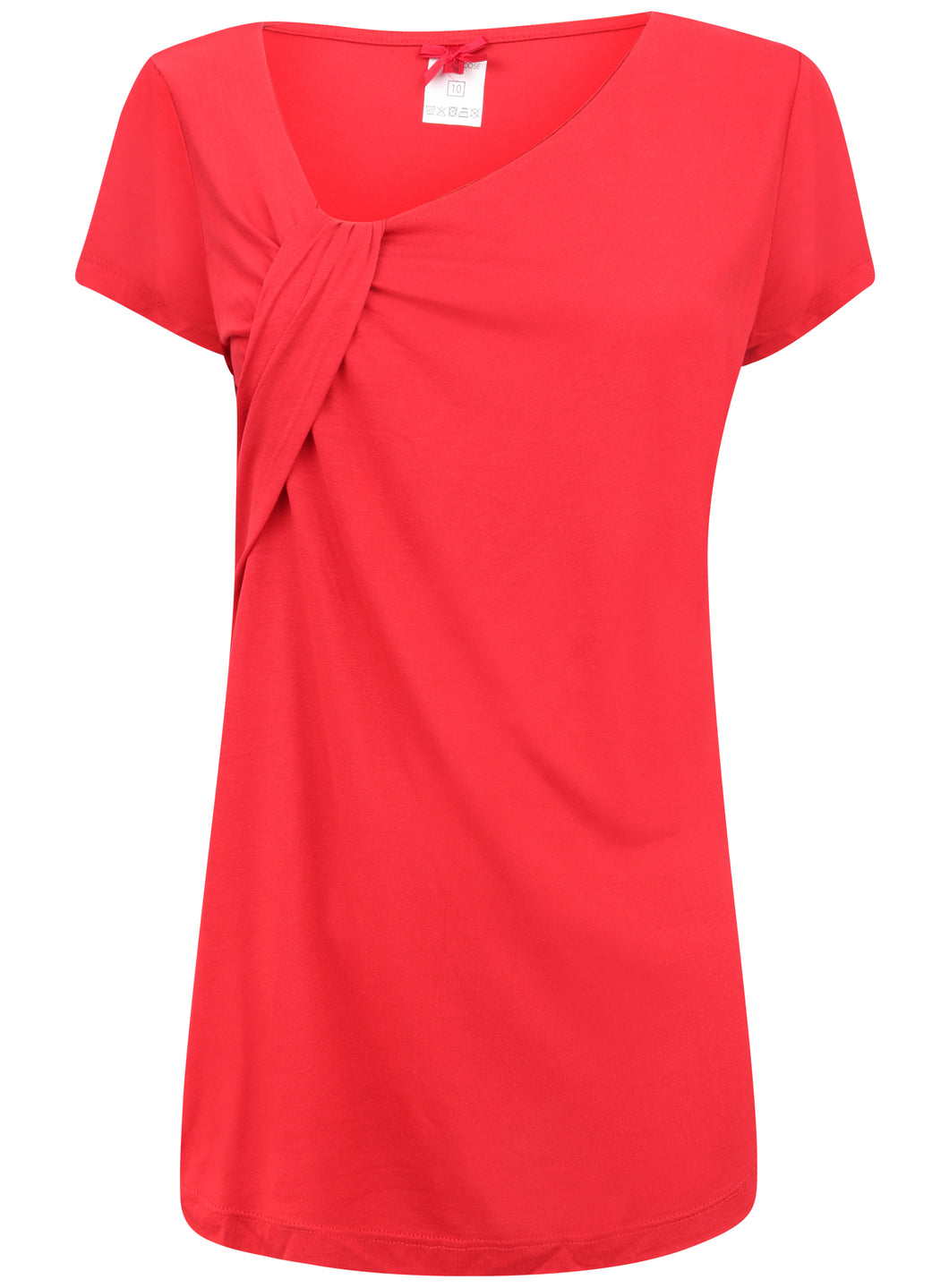 Red Short Sleeve Blouse Top