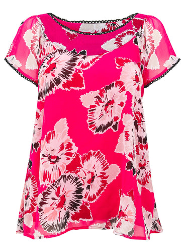 Ex Evans Short Sleeve Pink Floral Blouse Top