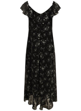 Ex Evans Black Floral Print Sleeveless Frill Maxi Long Step Hem Dress