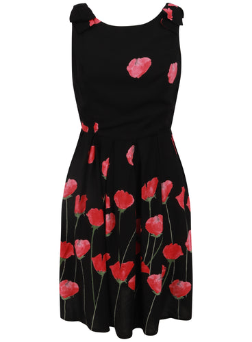 Ladies Sleeveless Black Floral Rose Poppy Black Skater Dress