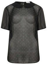Short Sleeve Sheer Black Spot Collared Blouse Shirt