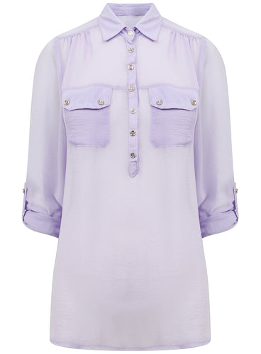 Ladies 3/4 Roll Up Sleeves Sheer Lilac Shirt Blouse