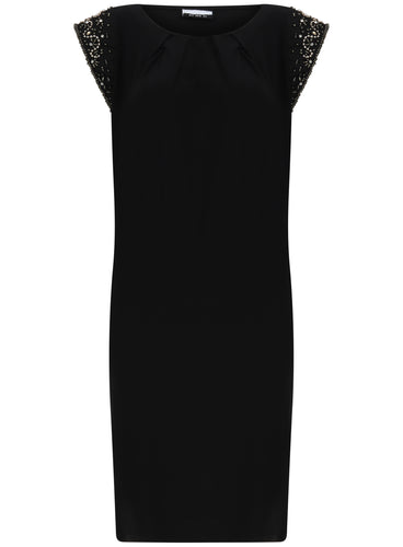 Ex Wallis Short Sleeve Jewel Embellished Black Dress