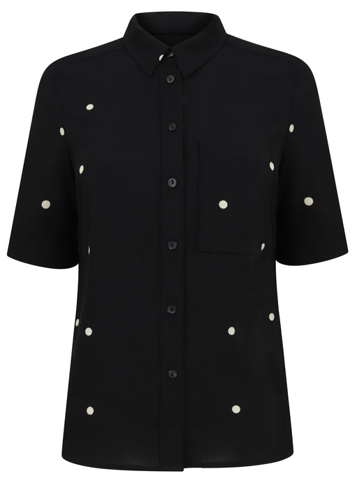 Ex Next Short Sleeve Black Spot Blouse Shirt