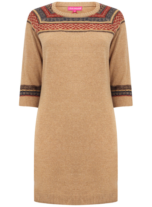 Ladies 3/4 Sleeve Brown Long Pull On Knitwear Jumper