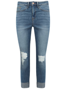 Ex New Look Skinny Ripped Knee Blue Jeans