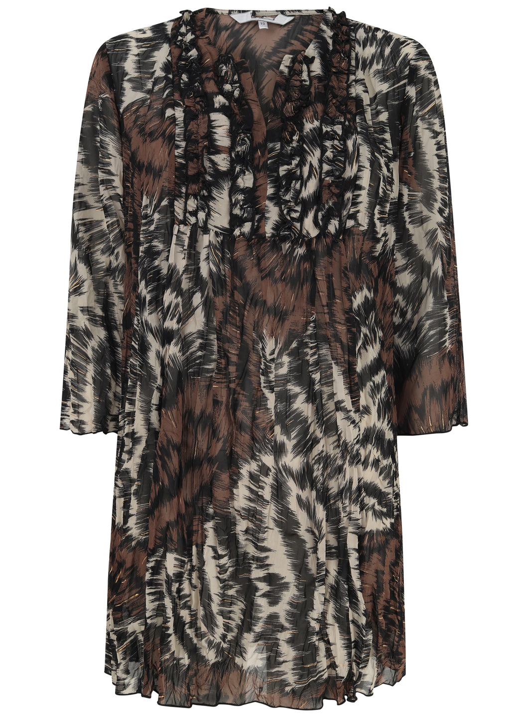 Ladies V Neck Ruffle Leopard Print Brown Blouse Top