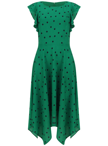 Ex Bon Marche Green & Navy Polka Dot Spot Hankerchief Hem Midi Dress
