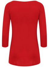 Ex Wallis Red V Neck 3/4 Sleeve Blouse Top