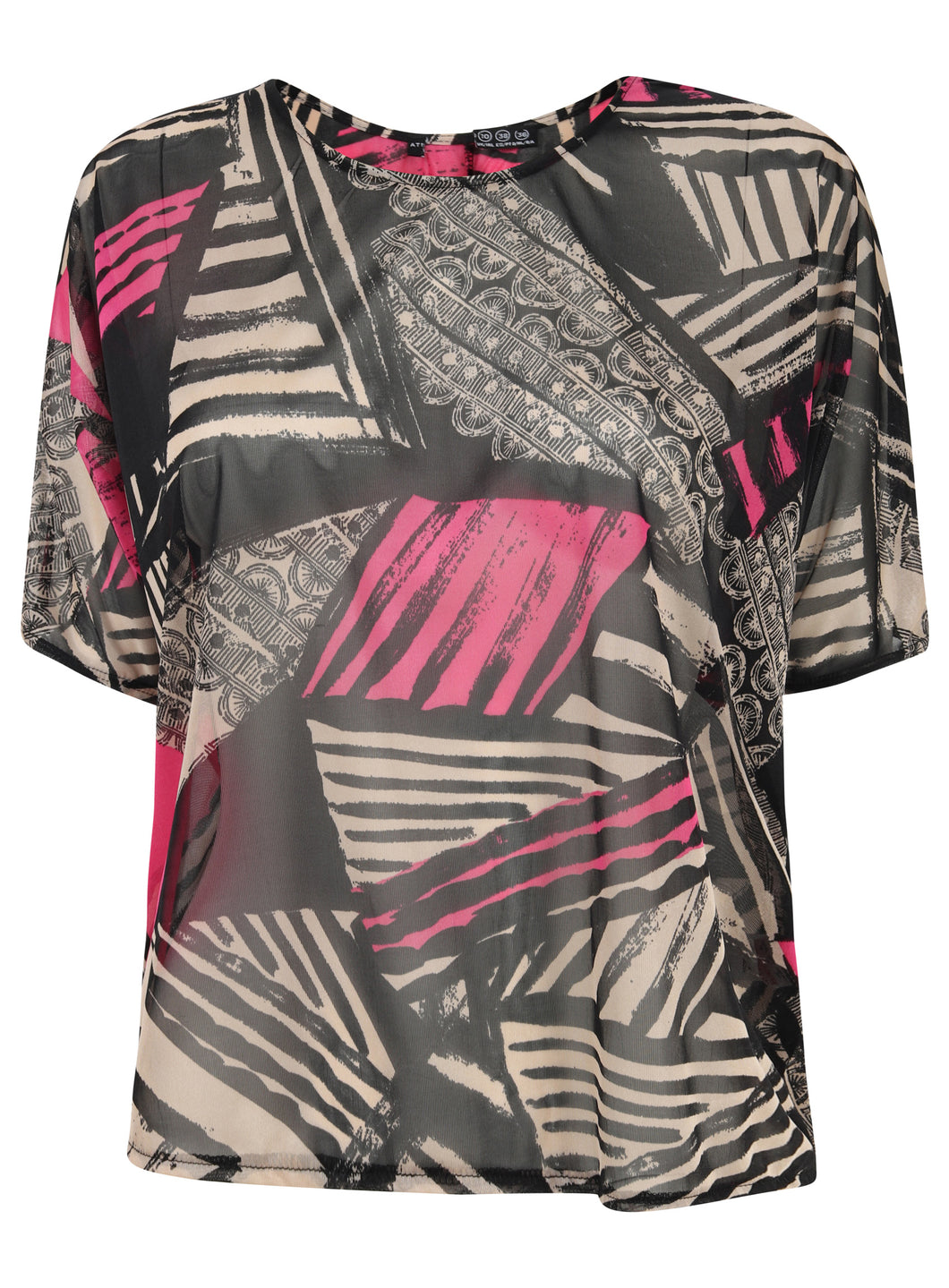 Short Sleeve Aztec Print Sheer Clear Blouse Top