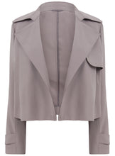 Ex Jasper Conran Debenhams Long Sleeve Waterfall Grey Blazer Jacket