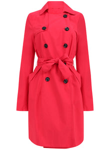 Ex David Barry Ladies Red Belted Trench Mac Jacket