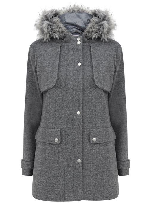 Ex N*xt Grey Fur Trim Hood Winter Wool Blend Coat Duffle Jacket