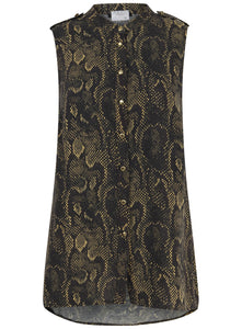 Ex Marks And Spencer Sleeveless Snakesin Print Blouse Top
