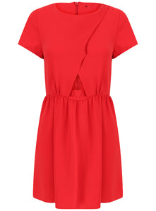 Ex Topshop Short Sleeve Red Party Dress