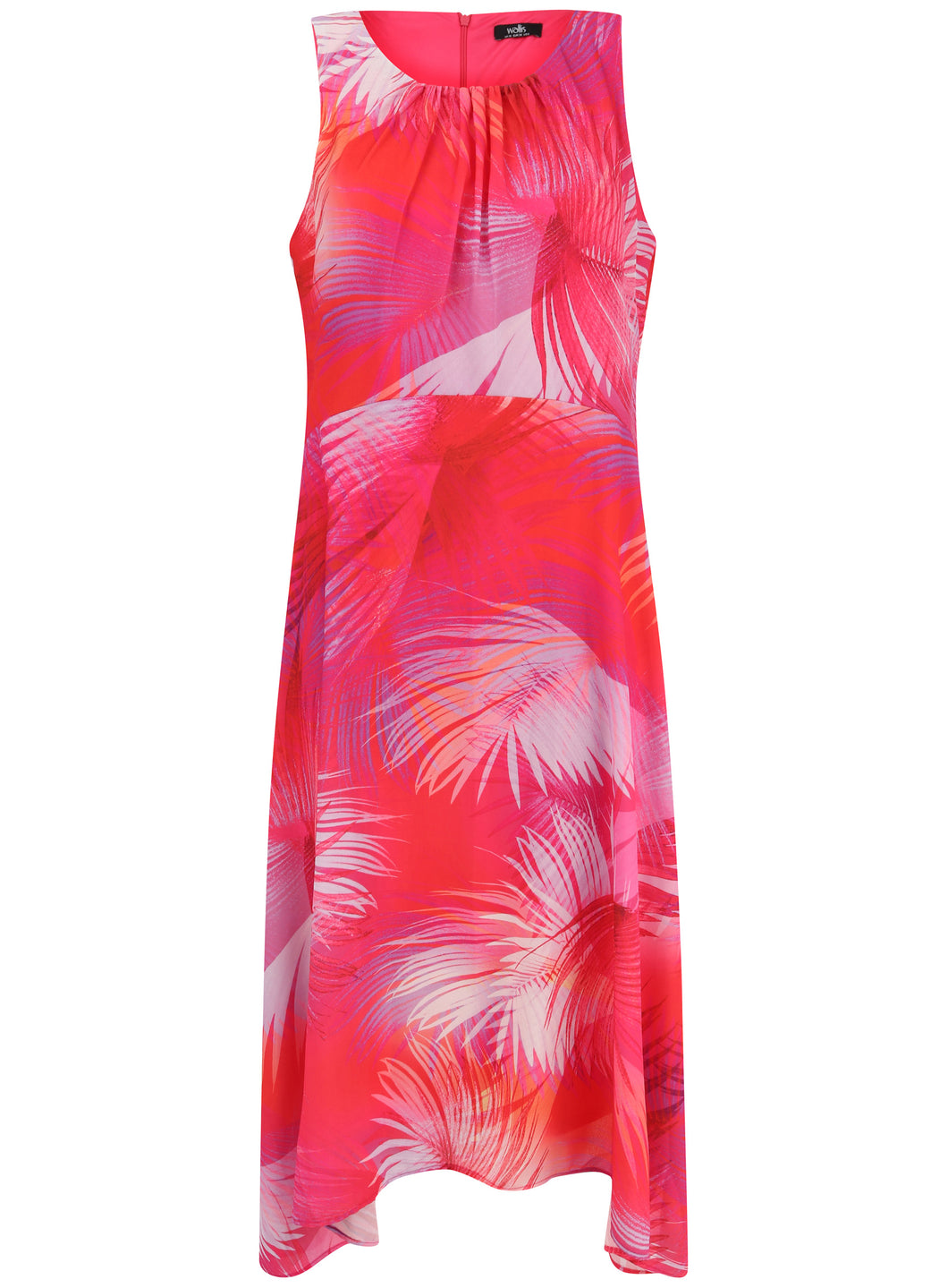 Ex Wallis Pink Palm Print Asymmetrical Hem Pleated Midi Sun Holiday Dress