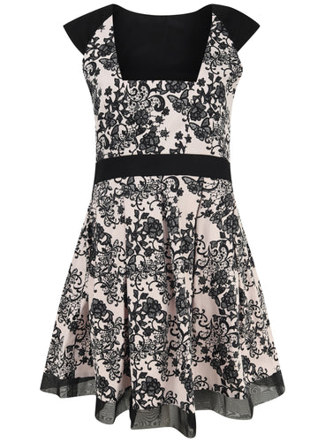 Ex Dorothy Perkins Black WhIte Floral Capped Sleeve Fit & Flare Dress