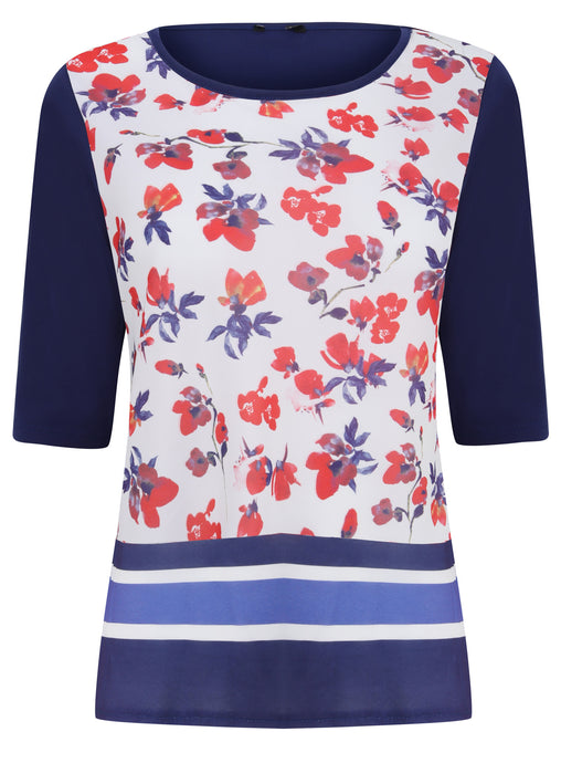 Ex M&CO 3/4 Sleeve Blue Floral Printed Blouse Top
