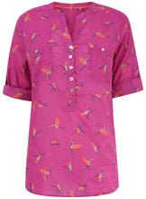 Ex Marks And Spencer 3/4 Roll Sleeve Pink Bird Print Blouse