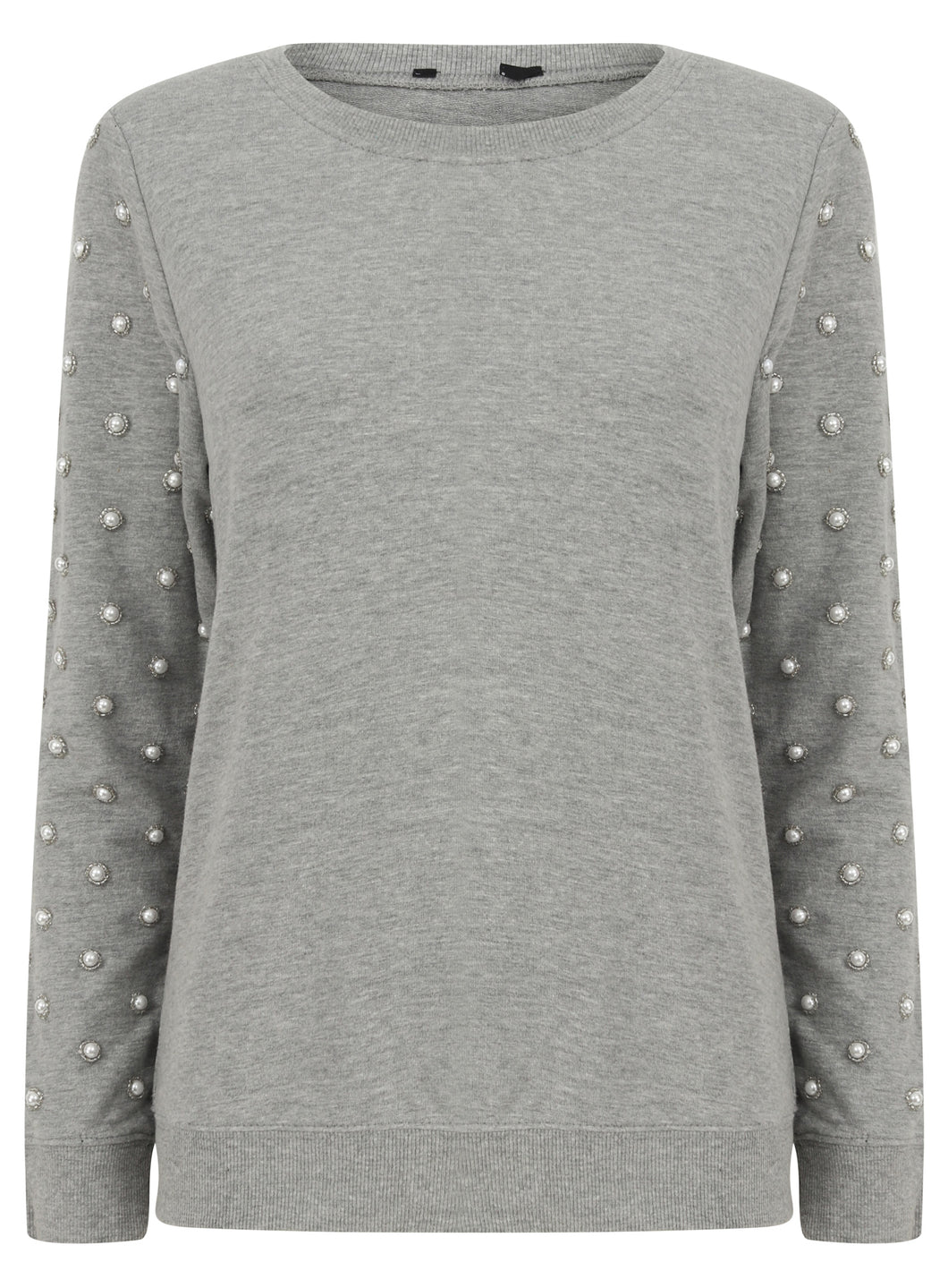 Ex Chainstore Long Sleeve Pearl Arm Grey Jumper Sweater