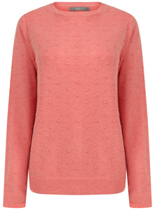 Ladies Crewneck 3 Colour Bobble Knitwear Jumper