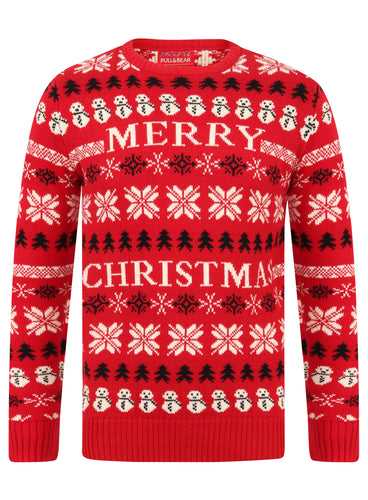 Ex Pull & Bear Mens Red Christmas Xmas Novelty Jumper