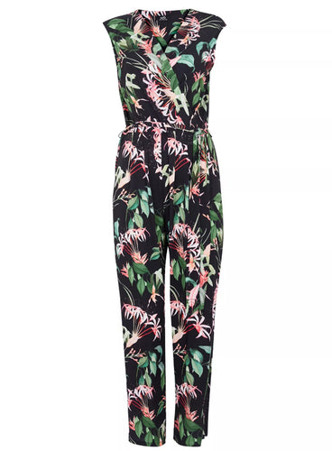 Ex Wallis Black Tropical Print Wrap Jumpsuit