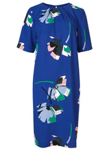 Ex Marks & Spencer Blue Floral Print Half Sleeve Tunic Dress Size 8-22