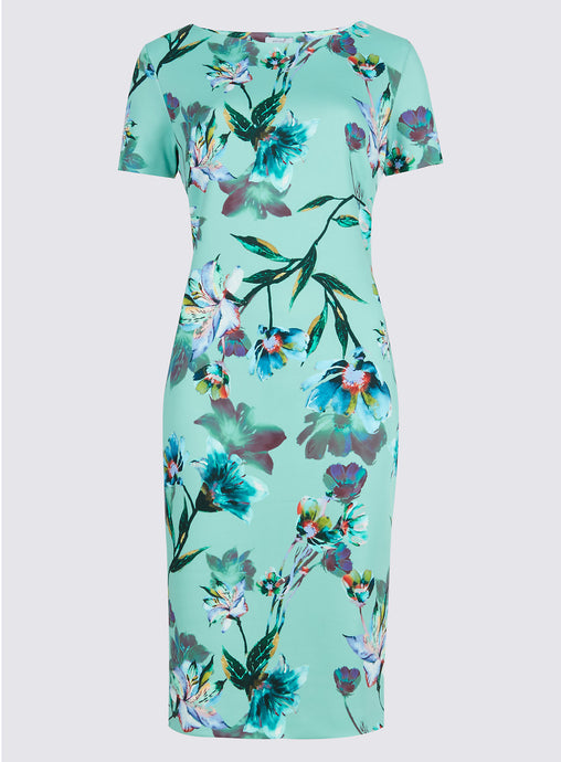 Ex Marks And Spencer Floral Print Scuba Shift Dress