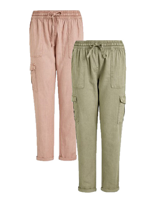 Ex Highstreet Linen Cargo Trousers Jogger 4 Colours
