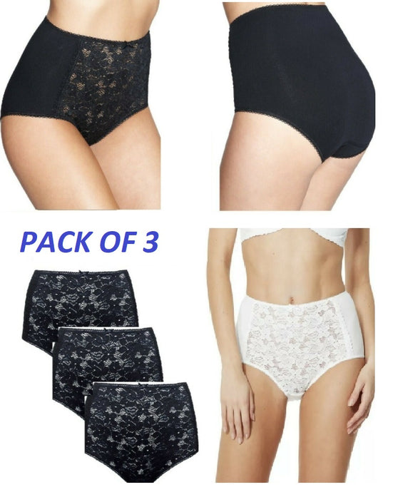 Ex Marks and Spencer 3 Pack Full Brief Knickers Lace Front Cotton Blend High Rise