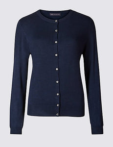 Ex Marks And Spencer Collection Navy Round Neck Cardigan
